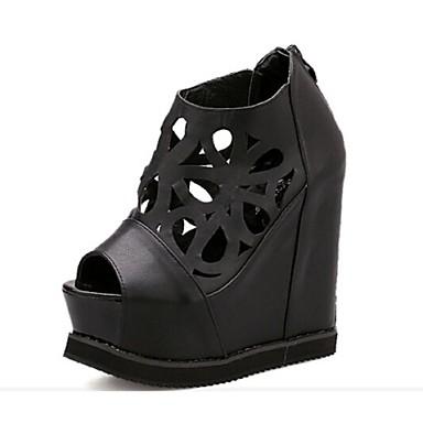 Γυναικεία παπούτσια - Πέδιλα - Καθημερινά - Ενιαίο Τακούνι - Ενιαία Σόλα / Peep Toe - Δερματίνη - Μαύρο / Άσπρο