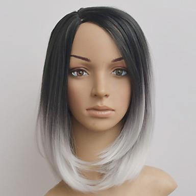 Syntetiske parykker Rett Bobfrisyre / Asymmetrisk frisyre Syntetisk hår Naturlig hårlinje Svart / Hvit Parykk Dame Mellemlængde Lokkløs Regnbue