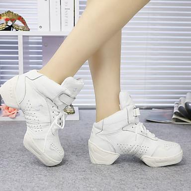 Men's Women's Children's Dance Sneakers Synthetic Leather Flat Indoor Beginner Practice Lace-up Flat Heel Black White Non Customizable