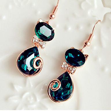 Kolczyki wiszące Kryształ Modny Słodkie Style sztuczna Diament Stop Animal Shape Kot Niebieski Biżuteria Na 2pcs