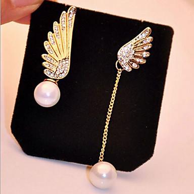 Damskie Kolczyki wiszące Perłowy Imitacja diamentu Stop Skrzydła / Feather Biżuteria Gold Biżuteria kostiumowa