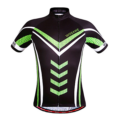 WOSAWE Short Sleeves Cycling Jersey - Black Bike Jersey, Quick Dry, Breathable