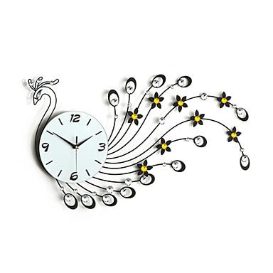 demir sessiz duvar saati modern tarzı moda yaratıcı tavuskuşu elmas