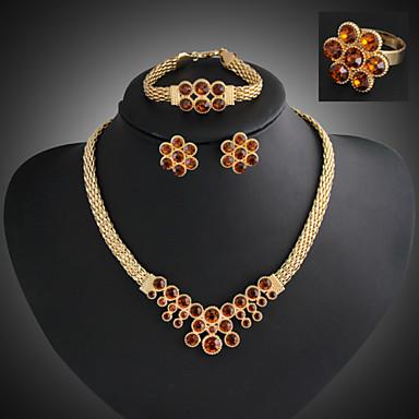 רובי סינתטי סט תכשיטים - זירקוניה מעוקבת, יהלום מדומה פאר, מסיבה, שרשרת\חוליות לִכלוֹל זהב / אדום עבור Party / יום הולדת / ארוסים
