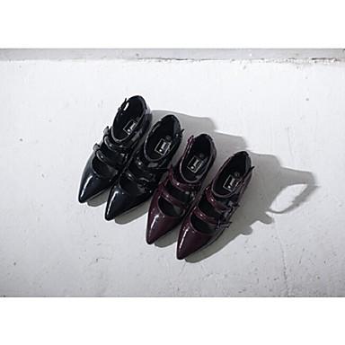 Otoño Rojo 03841395 Mujer Primavera Rojo Verano Negro Tacón Plano Negro Semicuero Zapatos qqgwCxU6