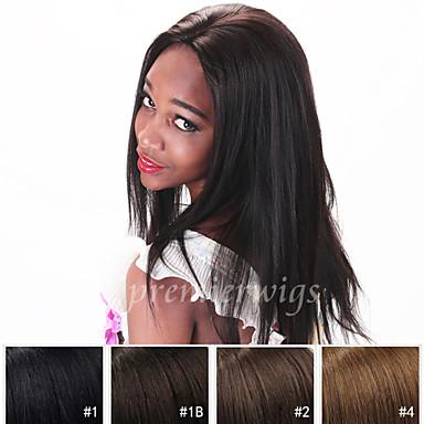 Echthaar Spitzenfront Perücke Glatt 130% Dichte 100 % von Hand geknüpft Afro-amerikanische Perücke Natürlicher Haaransatz Kurz Medium Lang