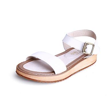 נשים נעליים עור אביב קיץ סתיו נוחות רצועה אחורית עקב שטוח אבזם עבור קזו'אל שמלה לבן שחור