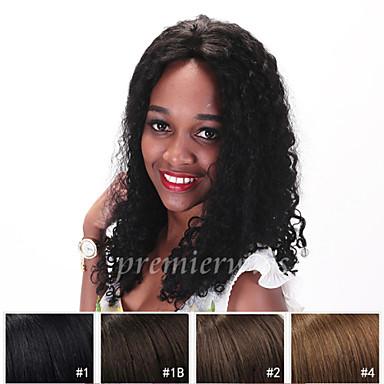 Ekte hår Helblonde Parykk Krøllet 130% tetthet Naturlig hårlinje / Afroamerikansk parykk / 100 % håndknyttet Dame Kort / Medium / Lang Blondeparykker med menneskehår
