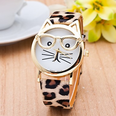 Buy Cat Watch Glasses Women Quartz Watches Reloj Mujer Relogio Feminino Leather Strap Cool Unique Fashion
