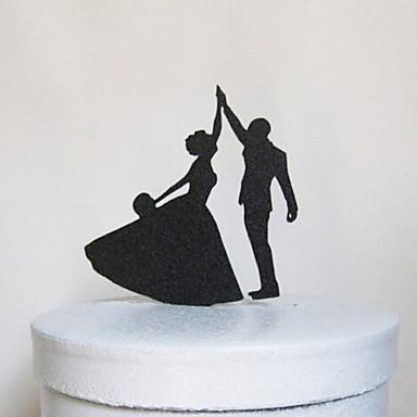 Figurki na tort Klasyczna para Akrylowy Ślub Rocznica Przyjęcie przedślubne z 1pcs OPP