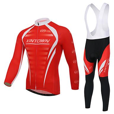 XINTOWN Koszulka i spodnie z szelkami na rower Męskie Długi rękaw RowerOddychający Przepuszczalność wilgoci Odblaskowe paski Tylnej