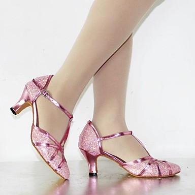 baratos Shall We® Sapatos de Dança-Mulheres Sapatos de Dança Paetês / Courino Sapatos de Dança Moderna Lantejoulas / Gliter com Brilho / Presilha Salto Alto / Sandália Salto Personalizado Personalizável Rosa / Prateado / Dourado