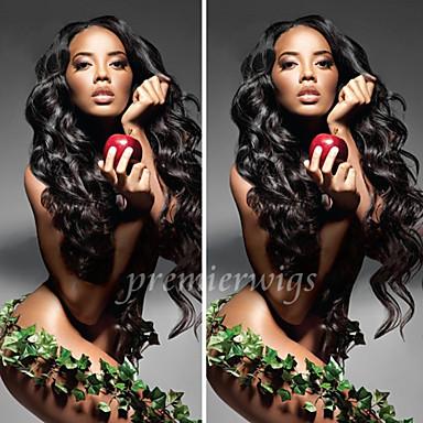 Echthaar Vollspitze Perücke Wellen Perücke 130% Haardichte Natürlicher Haaransatz Afro-amerikanische Perücke 100 % von Hand geknüpft Damen Kurz Mittlerer Länge Lang Echthaar Perücken mit Spitze