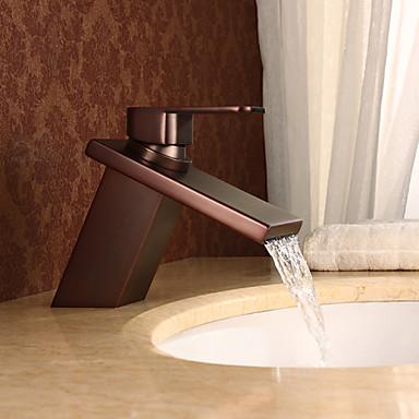 Antiikki Integroitu Vesiputous Keraaminen venttiili Yksi reikä Yksi kahva yksi reikä Öljytty pronssi, Kylpyhuone Sink hana
