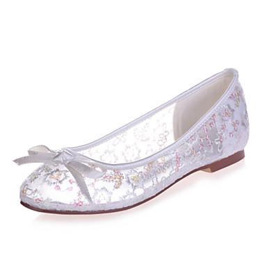 Γυναικεία παπούτσια - Μπαλαρίνες - Γάμος / Πάρτι & Βραδινή Έξοδος - Επίπεδο Τακούνι - Στρογγυλή Μύτη - Δαντέλα -Μαύρο / Μπλε / Ροζ /
