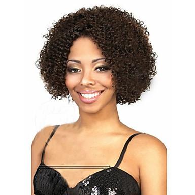 Femme Perruque Synthétique Sans bonnet Mi Longue Très Frisé Noir Perruque Déguisement