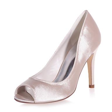Damen Schuhe Satin Frühling Sommer Komfort Sandalen Stöckelabsatz für Hochzeit Party & Festivität Silber Rot Blau Champagner Elfenbein