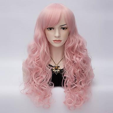 σέξι γυναίκες μακριά σγουρά μαλλιά με την πλευρά κτύπημα περούκα lolita συνθετικό ροζ