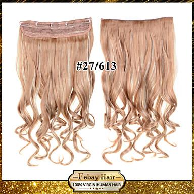 abordables Extensions Synthétiques-Febay A Clipser Extensions de cheveux Naturel humains Ondulé Cheveux Synthétiques Pièce de cheveux Blonde à la fraise / Bleached Blonde