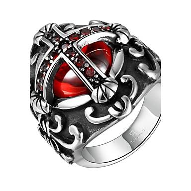 voordelige Herensieraden-Heren Ring Zirkonia Zilver Roestvast staal Zirkonia Kubieke Zirkonia Modieus Militair Dagelijks Causaal Sieraden / Titanium Staal / Verzilverd