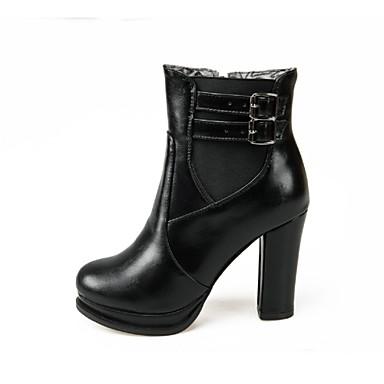 Γυναικείο Παπούτσια Δερματίνη Άνοιξη Φθινόπωρο Χειμώνας Κοντόχοντρο Τακούνι Μποτίνια Φερμουάρ Λουράκι Για Causal Φόρεμα Μαύρο Σκούρο μπλε
