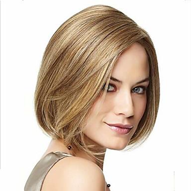 Synthetische Perücken Damen Glatt Gold Asymmetrischer Haarschnitt Synthetische Haare Natürlicher Haaransatz Gold / Blond Perücke Kurz Kappenlos Blondine