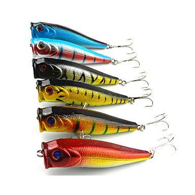 6 pcs Popper Fishing Lures Popper g / Ounce, 90mm mm / 3-1/2