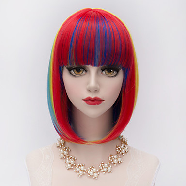 Short Straight Full Bang Bobo Hair Mixed Colors Gradient Synthetic Harajuku Lolita Fashion Party Women Wig