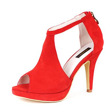Sandaalit - Piikkikorko - Naisten kengät - Fleece - Musta / Punainen - Puku - Avokärkiset