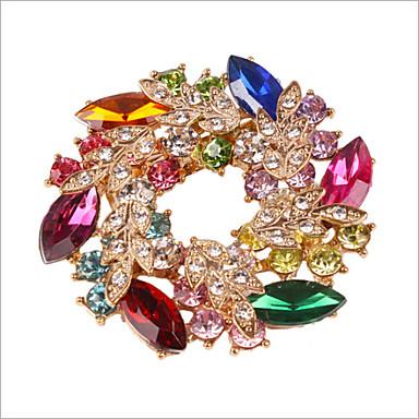 levne Módní brože-Dámské Brože Květiny Kytky Duhová dámy Luxus Party Křišťál Štras Umělé diamanty Brož Šperky Duhová Pro Svatební Párty Zvláštní příležitosti Výročí Narozeniny