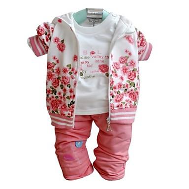Baby Mädchen Blumen Langarm Standard Standard Kleidungs Set Rosa 80