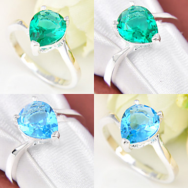 Women's Statement Ring Green Blue Silver Plated Geometric Wedding Party Daily Casual Sports Costume Jewelry