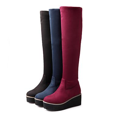 Γυναικείο Παπούτσια Φλις Άνοιξη Φθινόπωρο Χειμώνας Τακούνι Σφήνα Μπότες πάνω από το Γόνατο Για Causal Φόρεμα Μαύρο Κόκκινο Μπλε