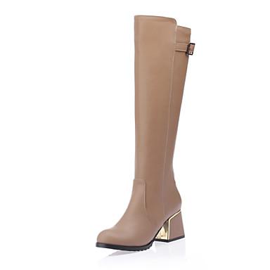 Damer Sko Kunstlæder Vinter Forår Efterår Modestøvler Støvler Kraftige Hæle Knæhøje støvler for Afslappet Hvid Sort Mandel