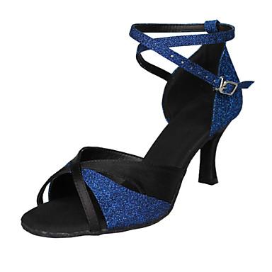 Chaussures de danse(Bleu) -Non Personnalisables-Talon Aiguille-Satin Paillette Brillante-Latine Salsa Samba