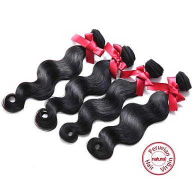 EVET Hair Bundles Body Wave Peruvian Virgin Hair Extensions 4 Bundles Human Hair Weaves Natural Black 100g/pc 8