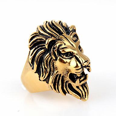 Bagues Affirmées Amour Mode Européen Acier inoxydable Alliage Forme d'Animal Lion Bijoux Pour Mariage Soirée Quotidien 1pc