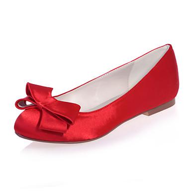 Γυναικεία παπούτσια - Μπαλαρίνες - Γάμος / Πάρτι & Βραδινή Έξοδος - Επίπεδο Τακούνι - Στρογγυλή Μύτη - Σατέν -Μαύρο / Μπλε / Ροζ /