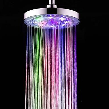 Moderno Ducha lluvia Cromo Característica - Efecto lluvia Ecológica LED, Alcachofa de la ducha