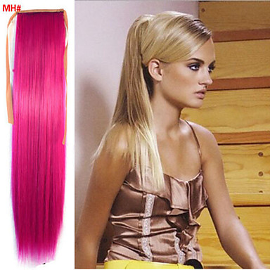 Gerade Synthetik Haarstück Haar-Verlängerung 18 Zoll Rot