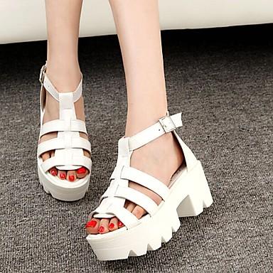 Sandaalit - Leveä korko - Naisten kengät - Tekonahka - Musta / Valkoinen - Puku / Rento - Avokärkiset