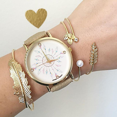 Women's Bracelet Watch Fashion Watch Quartz Hot Sale PU Band Charm Black Khaki
