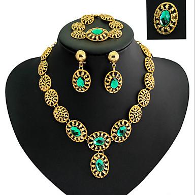 Mulheres Conjunto de Jóias Zircônia Cubica Chapeado Dourado Imitações de Diamante Liga Luxo Vintage Festa Bijuterias Destaque Fashion