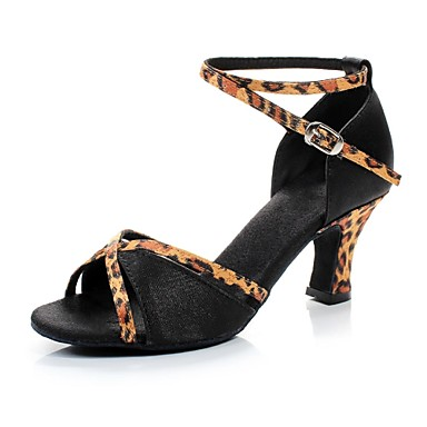 Zapatos de bailes latinos de cuero con estampado de lunares cómodos lk6NTptd0