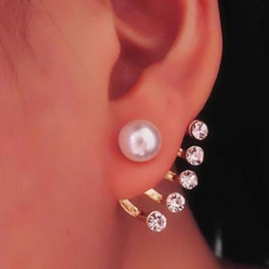 Brincos Compridos Pérola Imitação de Pérola Strass imitação de diamante Liga Jóias Para Diário Casual 1 par