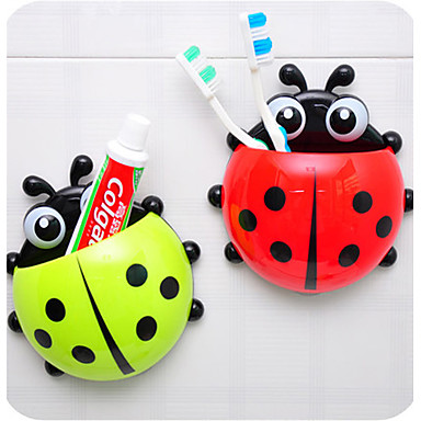 Cartoon Ladybug Shaped Toothbrush Holder Mount With Suction Grip Wall Rack Bathroom (Random Color)