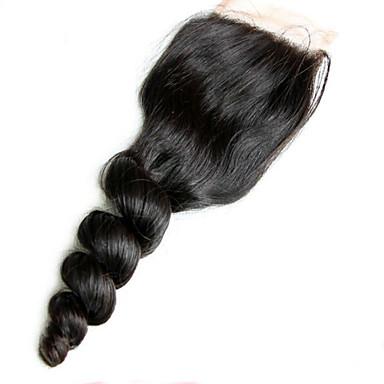 Luźne fale Koronkowy przód Siateczka szwajcarska Włosy naturalne Bezpłatne Część