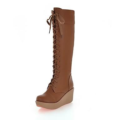 Γυναικείο Παπούτσια Δερματίνη Φθινόπωρο Χειμώνας Πλατφόρμα Τακούνι Σφήνα Μπότες ως το Γόνατο Κορδόνια Για Causal Φόρεμα Λευκό Μαύρο Καφέ