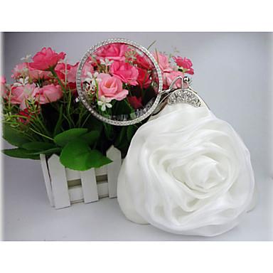 Kadın's Çantalar Saten Gece Çantası Çiçekli için Düğün / Davet / Parti Sonbahar Kış Beyaz / Gri