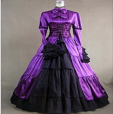 Gotik Lolita Steampunk® Saten Kadın's Elbiseler Cosplay Uzun Kollu Uzun (L)